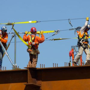 Safety consciousness is always first for ironworkers. Image by Aerosnapper.