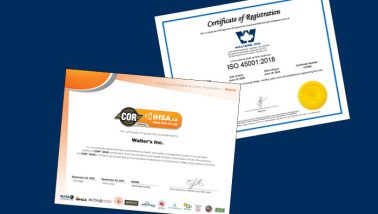 Walters group maintains health & safety accreditations